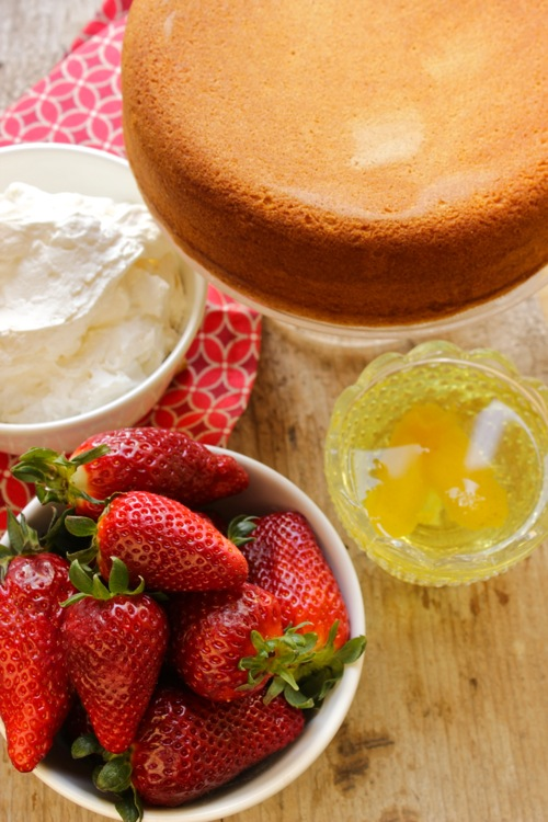 ingredienti torta panna e fragole
