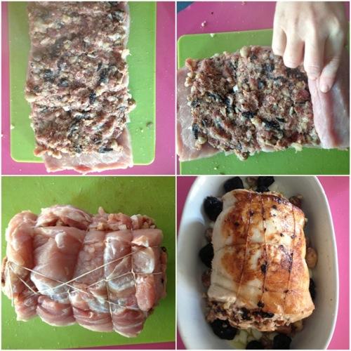 Arrosto di maiale ripieno di frutta e spezie
