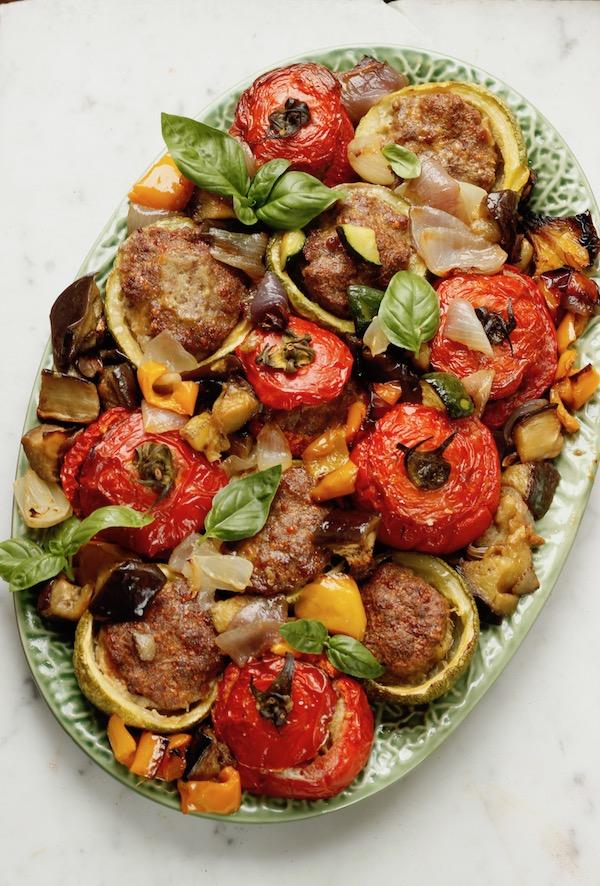 verdure al forno ripiene di carne