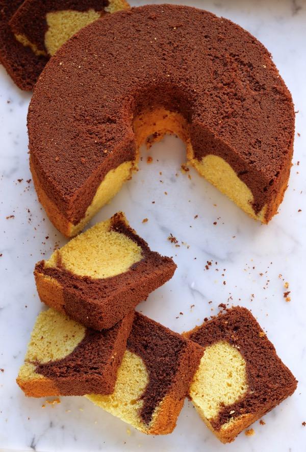chiffon cake vaniglia e cacao